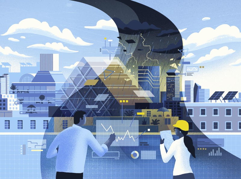 Architect Magazine / Weather Whiplash cityscape sustainability climate change architecture city data technology science editorial illustration editorial illustration
