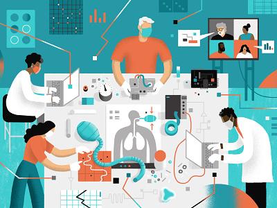 Kaiser Health News / Race to build budget ventilator health coronavirus covid ventilator engineering tech technology science editorial illustration editorial illustration