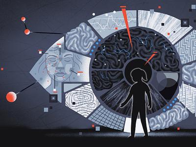 Spectrum / Autism and Blindness blindness vision eye autism brain conceptual health light science editorial illustration editorial illustration