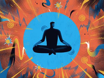 AARP / Autoimmune Disorders mindfulness wellness meditation yoga pain calm medical health editorial illustration illustration