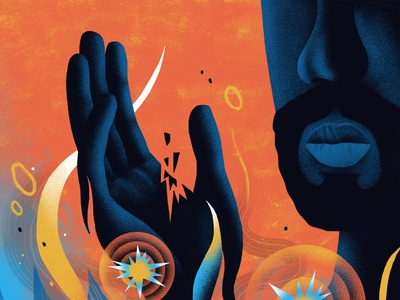 AARP / Autoimmune Disorders conceptual abstract hand face pain wellness medical health editorial illustration editorial illustration