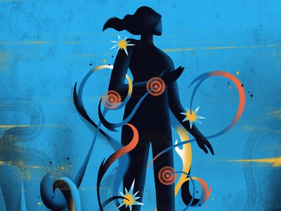 AARP / Autoimmune Disorders wellness silhouette body figure pain conceptual health editorial illustration editorial illustration