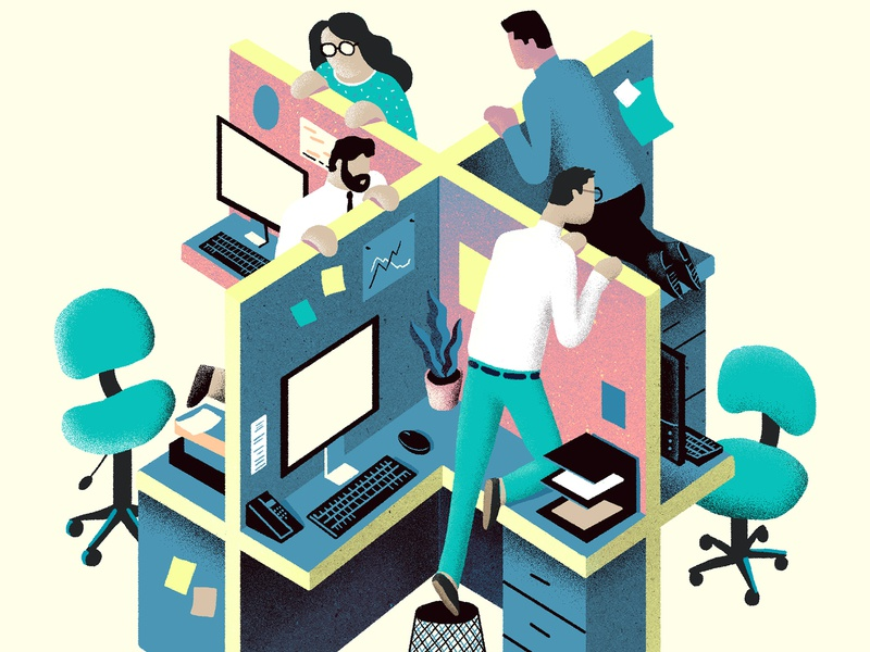 """""""Envy at Work"""" for Harvard Business Review figures people fun conceptual colorful editorial illustration design office management business desk work editorial illustration"""