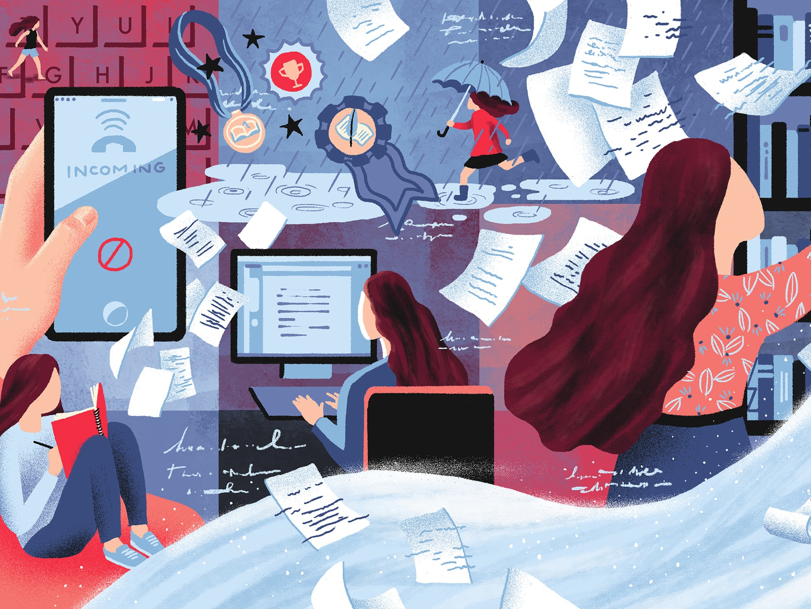 Advice For Writers books paper girls girl writing technology collage editorial illustration editorial art editorial illustration art illustration