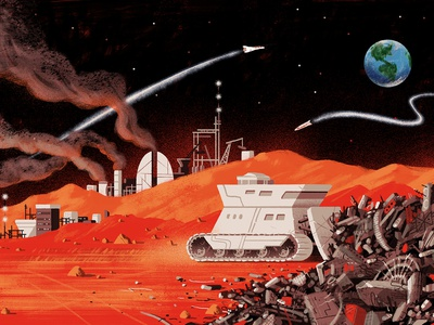 Longreads / Are We Ready For Mars? sci-fi sci fi earth environmental pollution landfill trash editorial illustration editorial illustration space outerspace planet mars