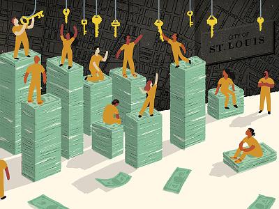 The Marshall Project / Cash Bail conceptual figures political corruption criminal justice justice money editorial illustration editorial illustration prison jail