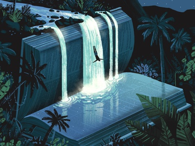 Christianity Today / Dive Into The Bible fantasy dream light surreal reading bible book read nature dive jungle rainforest waterfall editorial illustration editorial illustration water