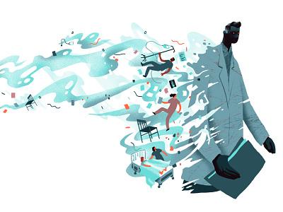 deVolkskrant / Intimidating Doctors healthcare health care health explode disrupt doctor negative space editorial editorial illustration illustration