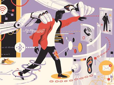 Mr Porter / Fashion of the Future futuristic future technology tech editorial clothing robot ai a.i. illustration fashion