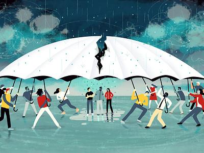 Spectrum News / Autism Wars autism fighting rain stormy storm editorial editorial illustration illustration