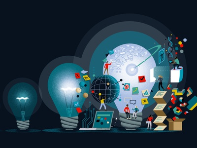 Sharing Ideas sharing ideas idea connect connection technology tech cover glow figures design science ui colorful light editorial illustration editorial illustration
