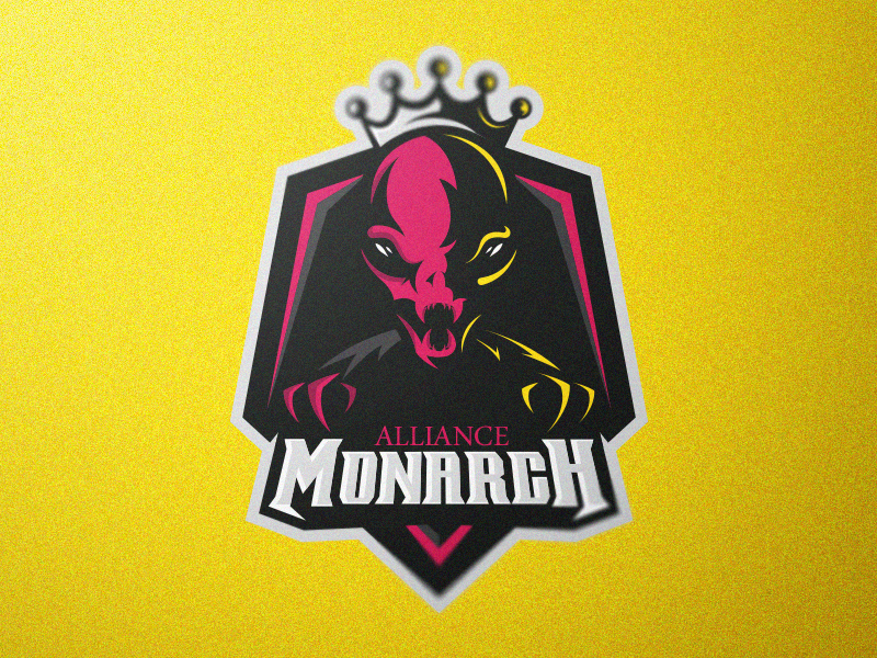 pink alien monarch with a crown logo