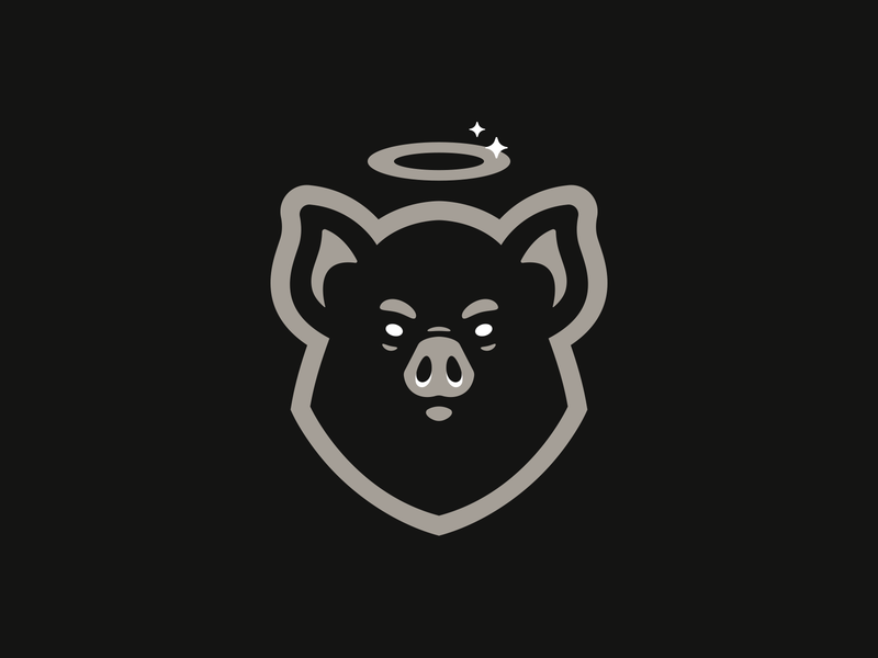 Saint Pig pig icon animal illustration hiwow logotype sport esport branding mascot logo identity caelum
