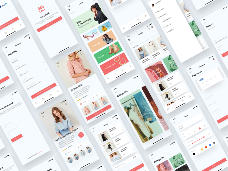 Trendy Shopping eCommerce UI/UX KIT app design ui template ui pack e-commerce ecommerce ux  ui ui kit ux shopping shop ios app ui
