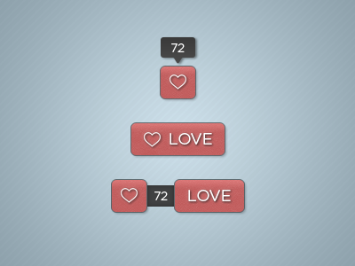 Love Buttons button love like rate free psd ui
