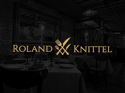 Logo design for a Chef dark black fork spoon knive logo design roland cuttlery cook kitchen chef