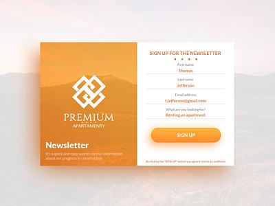 Sign up for newsletter newsletter signup ux ui product design logo orange clean white bright warm