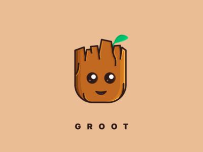 I'm Groot! 🌱 design marvelcomics face eyes cute minimal illustration character marvel groot