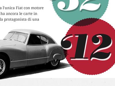 Fiat 8V fiat car retro vintage typography numbers halftone