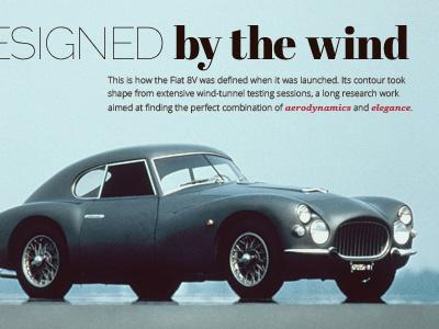 Designed by the wind car fiat 8v retro vintage typography automotive