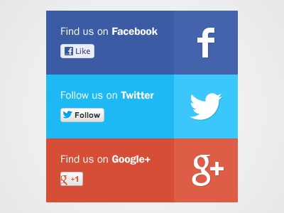 Social Panel ui icon button panel social network facebook twitter google plus like follow