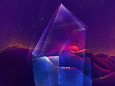 Crystal Sunrise nature mountain light postcard jewelry sunset sun art conceptual card artwork sunrise crystal illustraion