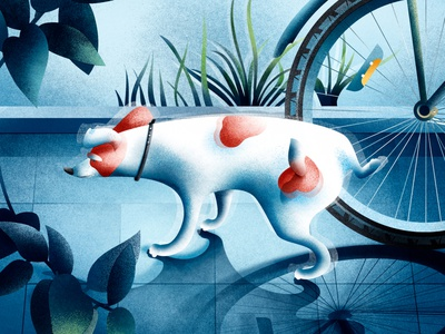 Dog in a city illustration art fun leaves wheel bicycle tree animals character cute lovely shadow light doggy dog digitalart summertime postcard artwork illustraion