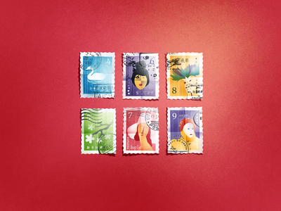 Summer Stamps blossom items mail pattern august sakura monthly natural floral portrait art swan stamp detailed artwork illustration