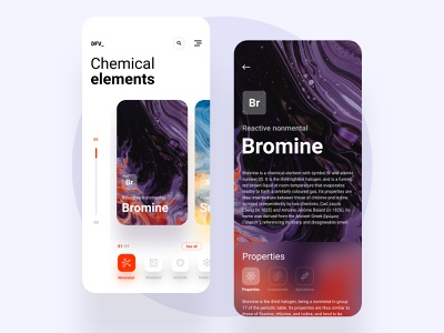Chemical elements abstract purple orange dashboard science white motion iphone app chemistry atom