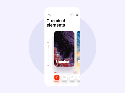 Chemical elements Motion orange purple white pharmacy chemistry video gif iphone app user interface ui