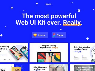 BLOC Web UI Kit design kit white motion video blue userinterface app ui uikit web