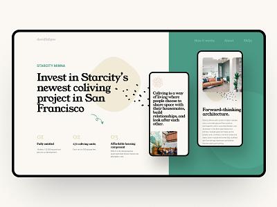 Starcity finance bitcoin green app ui real estate website realestate real estate web