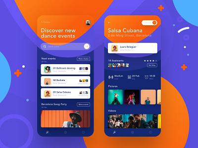 Salsapp. The dance app. iphone ui salsa photography blue orange ios app hiwow colorfull carnaval party dance