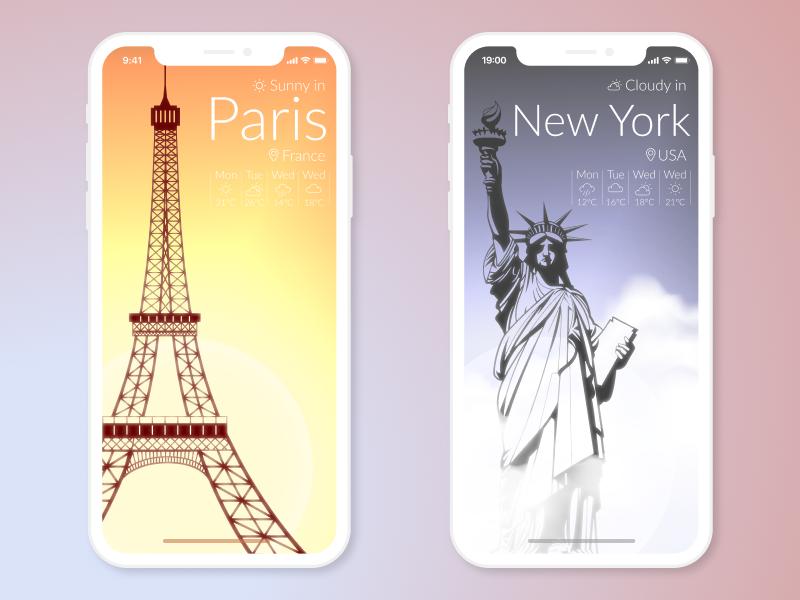 Weather App / 30 Days 30 UI Designs #9 ios iphone weather vector ux ui mobile flat design app