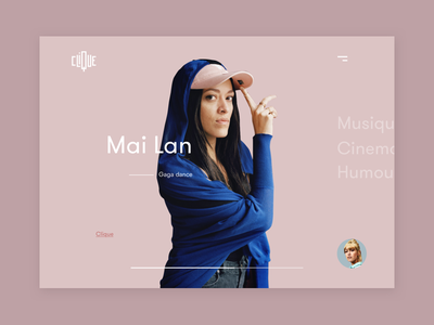 Clique - Home concept french clique minimalism humor cinema music ui interface homepage