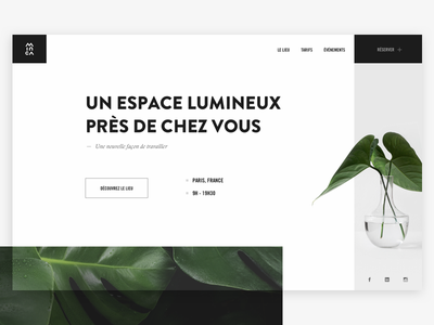 Home page - Minca coworking paris coworking plant green minca brand interface page landing home ui ux