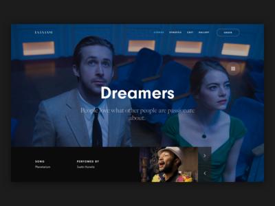 La La Land - Home page interface home musical ui ux website movie la la land