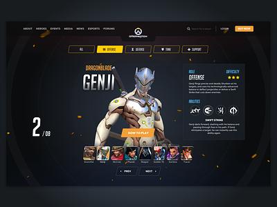 Overwatch - Heroes overview website redesign slider game video overview ux ui overwatch