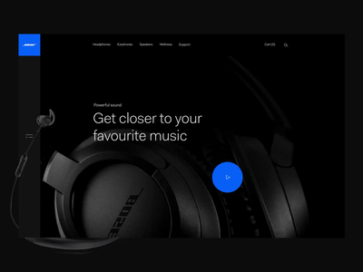 Bose - Redesign video dark brand website home design interface animation motion ux ui bose
