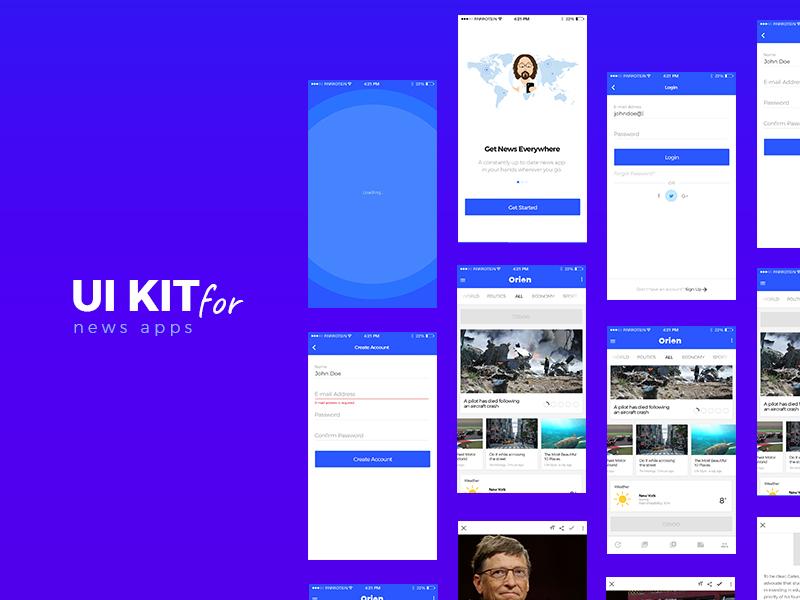 Orion News App UI Kit mobile news news ui app ui kit orion news news app