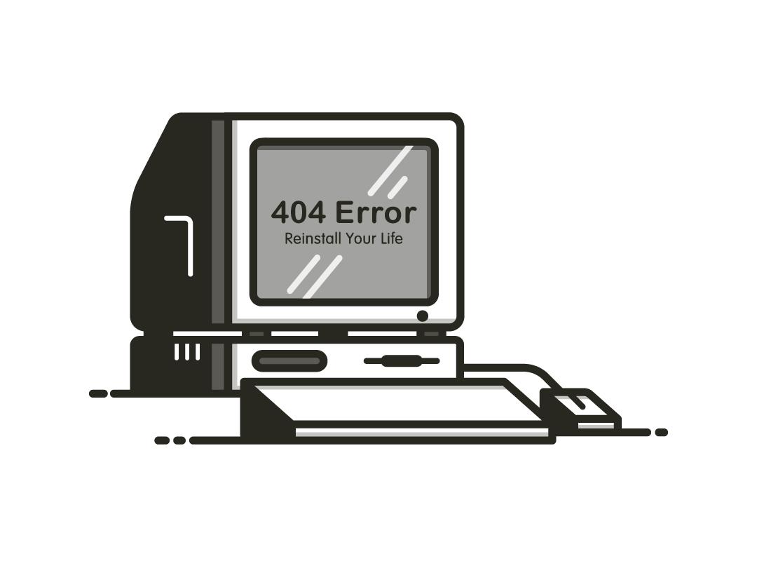 Error 404 / Reinstall Your Life graphic design error 404 flat design vectorart illustraion computer adobe illustrator