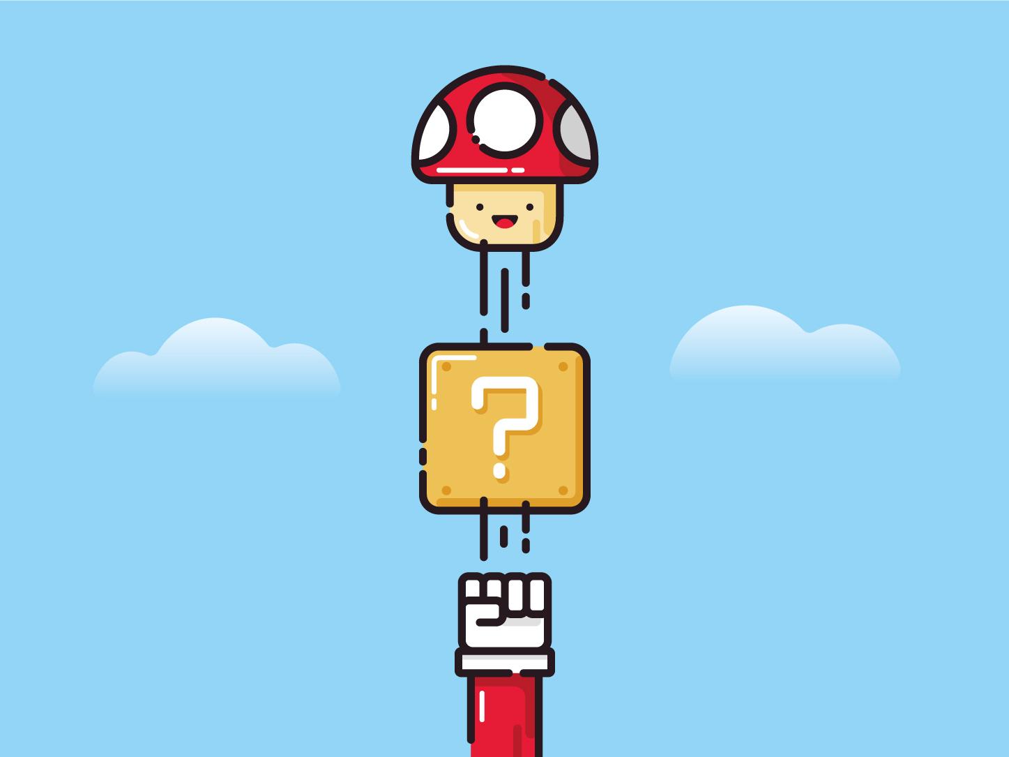 Super Mario Mushroom flat illustration flat design super nintendo fan art vector illustration vector art retro game video game mushroom super mario adobe illustrator
