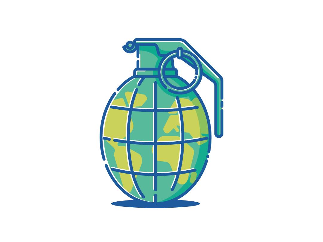 Earth Bomb planet earth hand granade bomb vector illustration flat design adobe illustrator