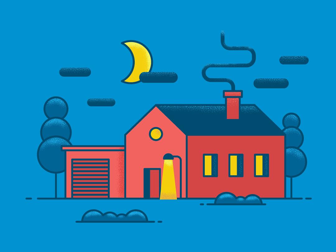 Little House In The Night vector artwork graphic desgin illustration flat illustration vector illustration flat design adobe illustrator