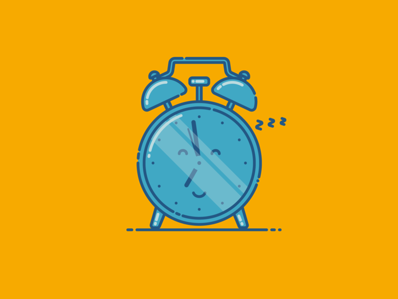 Sleepy Clock Before 7am funny character funny flat illustration adobe illustrator morning job day alarm sleepy clock
