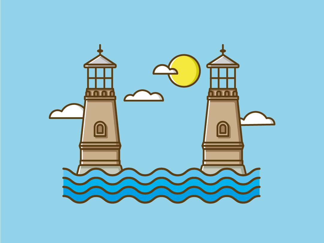 Two Lighthouses vector illustration flat design river water lighthouse freelance designer adobe illustrator