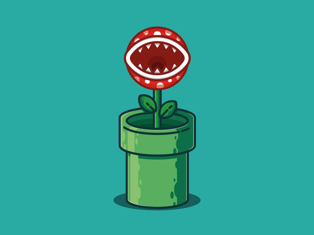 Super Mario Plant freelance designer vector illustration flat illustration super nintendo video game plant super mario adobe illustrator