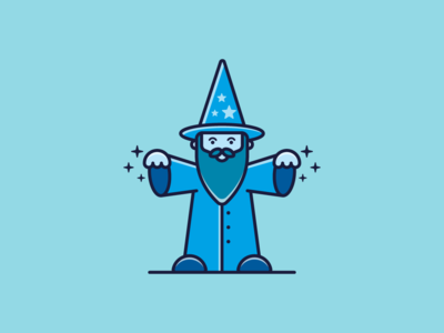 Wizard flat design flat illustration funny character wizard adobe ilustrator