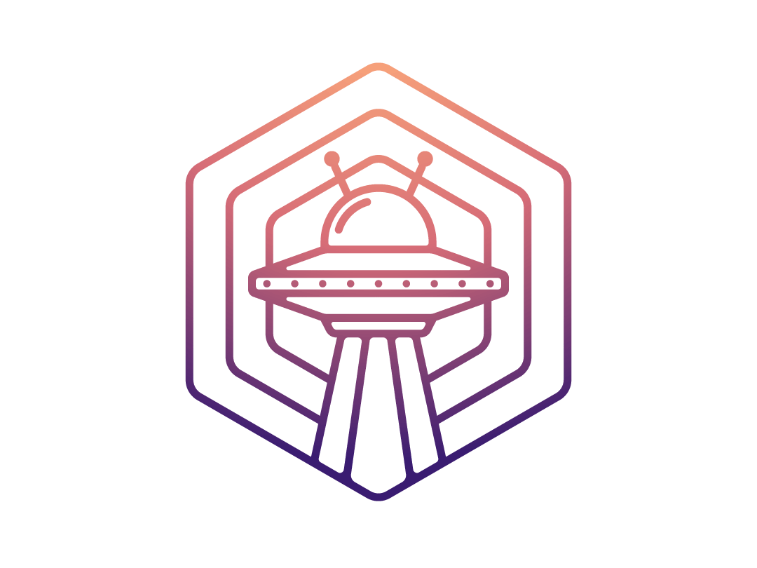UFO Badge Design gradient icon gradients cosmos ufo badge design flat illustration freelance designer adobe illustrator