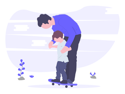 Fatherhood helping parent family son free character man illustration